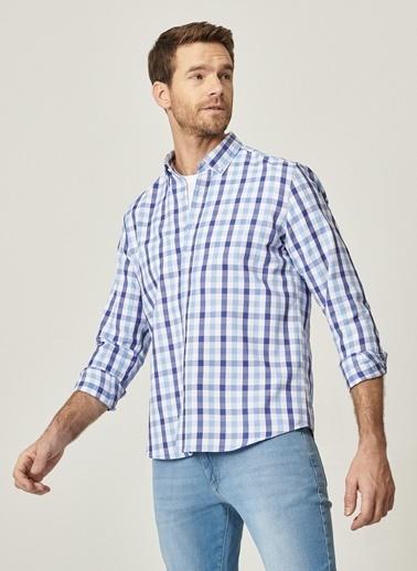 AC&Co / Altınyıldız Classics Tailored Slim Fit Dar Kesim Düğmeli Yaka Kareli Gömlek 4A2021100180 Mavi
